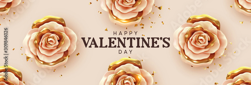 Fototapeta Happy Valentine's Day. Background with realistic 3d flower metal rose, beige and gold color, Glitter golden confetti. Pattern of flower buds. Horizontal banner, poster, header for website. Vector obraz