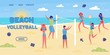 Beach Volleyball Flat Vector Landing Page Template