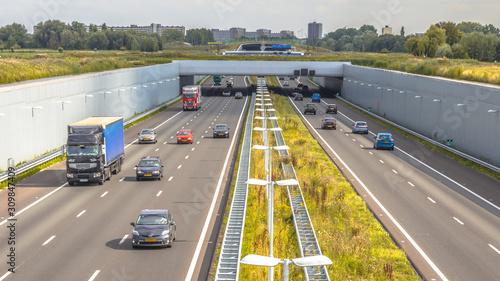 Fototapeta Commuter traffic on motorway in Randstad obraz