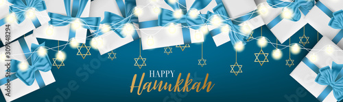 Happy Hanukkah. Traditional Jewish holiday. Chankkah banner or website header background design concept. Judaic religion decor with white luxury gift boxes with blue ribbon. Vector illustration.
