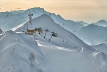 Skiing Slope In The French Alpes, Paradiski, La Plagne