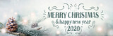 Merry Christmas and Happy New Year 2020  -  Christmas congratulations card -  Pine cone in snow landscape with magic lights  -  Banner, header