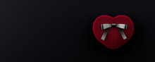 Red Heart Gift Box On Black Background. Valentine's Day Composition 3d Render 3d Illustration
