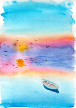 Watercolor Landscape Of A Boat...