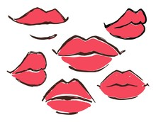 Red Lips Set Hand Drawn With Ink Paint Brush