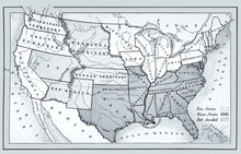Map Of Free, Slave And Undecided States 1857
