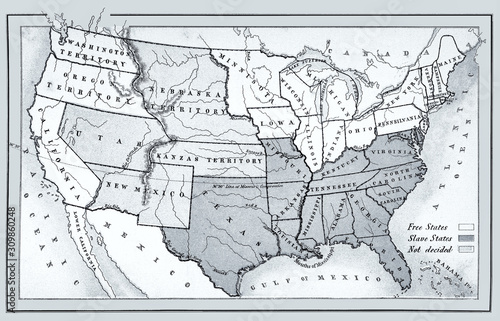 Photo Map of free, slave and undecided states 1857