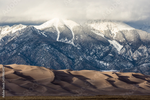 Canvas Print Landscape view of dunes at Great Sand Dunes National Park in Colorado, the tallest sand dunes in North America