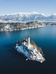 Lake Bled with Bled Island in winter, Slovenia