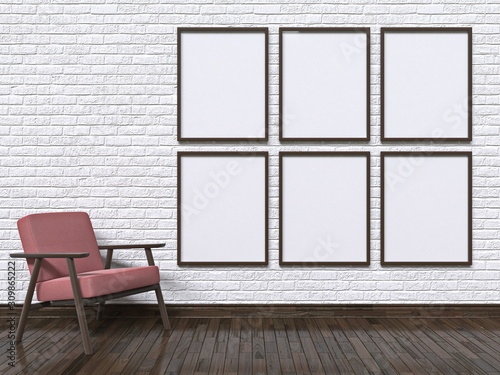 Mock up photo frames with armchair and wall 3D Fototapete
