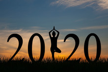 New Year 2020 Yoga Concept Wom...