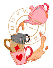 Alice In Wonderland Illustration With Teapot And Mugs. Crazy Tea Party Background.