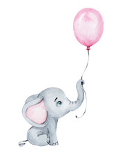 Cute Little Elephant With Pink Balloon; Watercolor Hand Draw Illustration; With White Isolated Background