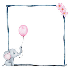 Cute Little Elephant And Black Watercolor Frame; Watercolor Hand Draw Illustration; With White Isolated Background