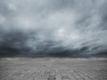 Empty Cobblestone Floor And Dr...