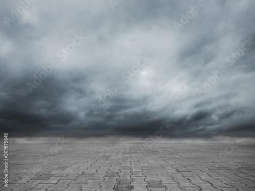 Empty cobblestone floor and dramatic sky nature landscape
