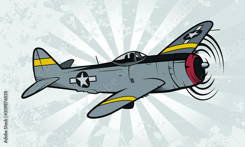 Cuadros en Lienzo World War II Fighter Aircraft vector illustration on textured background