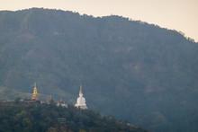 Wat Pha Sorn Kaew, Wat Phra Thart Pha Sorn Kaew, Is A Buddhist Temple With Beautiful Blue Sky High Peak Mountains Mist Fog Wildlife Green Forest At Khao Koh, Phu Tub Berk, Phetchabun, Thailand