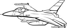 Fighter Jet Vector Line Artwork