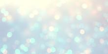 Glitter Blue Yellow Pastel Defocus Template. Bokeh Empty Background. Snow Blurry Pattern. Winter Lights Abstract Texture.