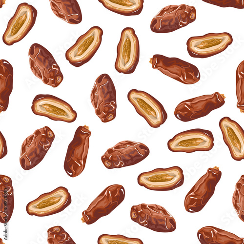 fototapeta na lodówkę Dates fruits seamless pattern. Vector illustration of dried fruits on a white background in cartoon flat style. Dried date palm berries.