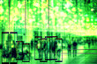 canvas print picture - Conceptual image - face recognition technology concept illustration of big data and security in city. People walk on evening street, night vision ai system is watching them.