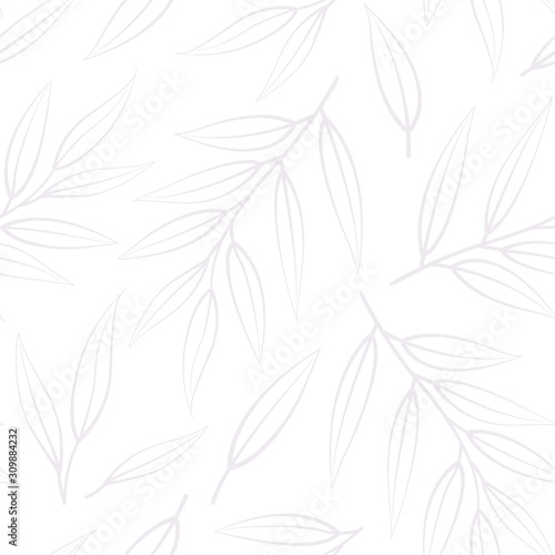 Fotomural  Vector seamless pattern with silhouettes branches and leaves; floral background for fabric, wallpaper, wrapping paper, textile, package, web design