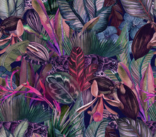 Tropical Pattern With Clouded Leopard And Tropical Flowers. Seamless Pattern With Orchids And Wild Cat.