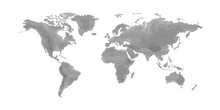World Map Flat Design Lines With Oceans. Planet Earth Background Screen Relievo Geographic Map Banner. All Continents Of The Stroke Global World In One Linear Relief Black And White Picture.