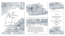 Watercolor Abstract Pale Grey Wedding Set With Hand Drawn Background.