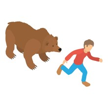 Bear Attack Icon. Isometric Il...