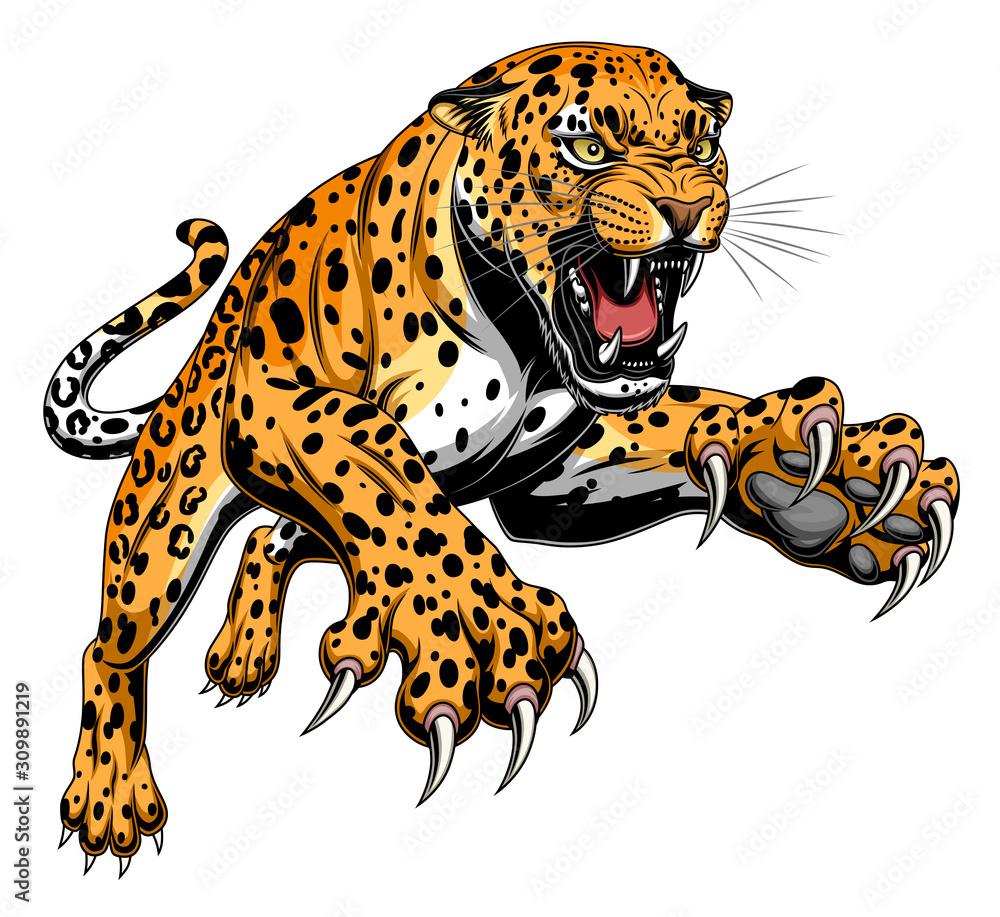 Fototapeta Leaping leopard