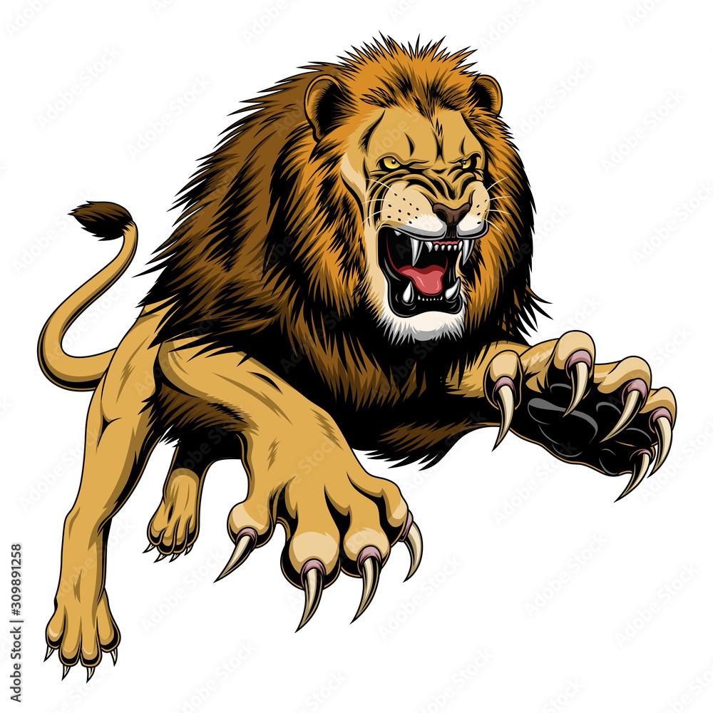 Fototapeta Leaping lion