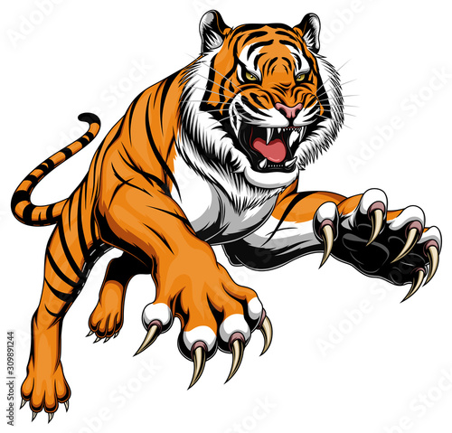 Leaping tiger