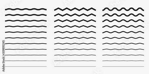 Fotografia, Obraz Wave, wavy - curved and zig zag icon set
