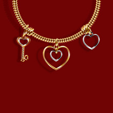 Valentine S Day. Gold Bracelet With Three Charms Charm In The Shape Of A Key, A Heart Of White And Yellow Gold. 3D With Shadow. Illustration