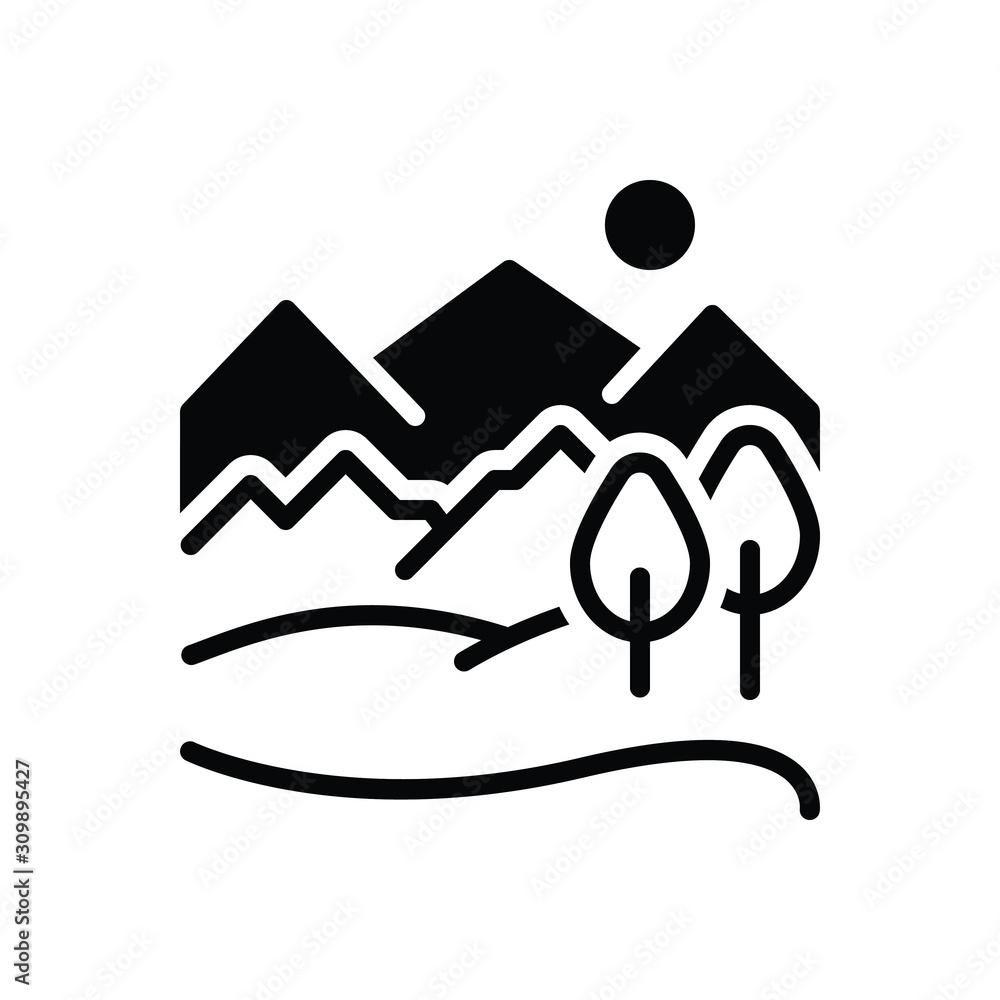 Fototapeta Black solid icon for hill