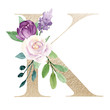 Floral alphabet, gold letter k with watercolor violet flowers and leaf. Botanical monogram initials perfectly for wedding invitations, greeting card and other. Holiday design hand painting.