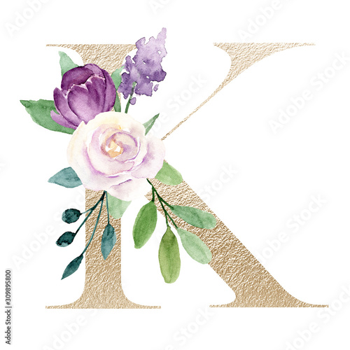 Photo Floral alphabet, gold letter k with watercolor violet flowers and leaf