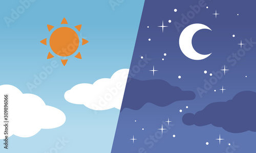 Obraz 昼と夜/太陽と月 - fototapety do salonu