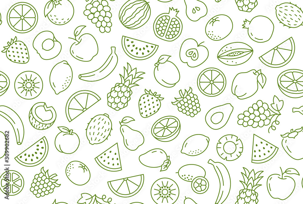 Fototapeta Fruit and berry background, abstract food seamless pattern. Fresh fruits wallpaper with apple, banana, strawberry, watermelon, line icons. Vegetarian grocery vector illustration, green white color
