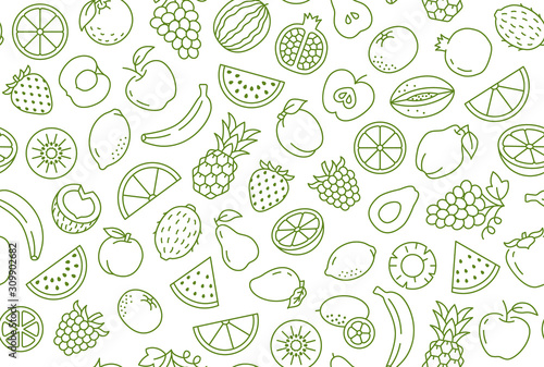 Fruit and berry background, abstract food seamless pattern. Fresh fruits wallpaper with apple, banana, strawberry, watermelon, line icons. Vegetarian grocery vector illustration, green white color - 309902682