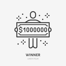 Lottery Winner Holding One Million Dollar Check Line Icon, Vector Pictogram Of Prize. Money Cheque Illustration, Casino Reward Sign