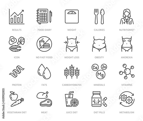 Fotomural  Nutritionist flat line icons set