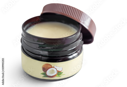 Cosmetic product: natural coconut oil with beeswax Canvas Print
