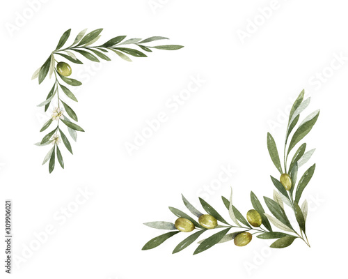 Photo Watercolor vector wreath of olive branches and lemon.