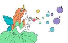 Cute Girl In A Fairy Costume Blowing Soap Bubbles. Dream Come True