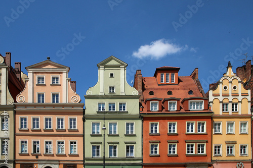 Several old historic houses in Wroclaw in Poland and their colorful facades.  © shootingtheworld