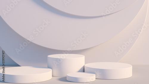 Photo Product setting podium white abstract minimalistic geometry, minimal light inter