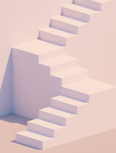 White Stairs 3d Rendering. Staircase Minimal Background. Abstract Ladder Product Display And Object Placement.